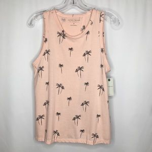 NWT Lucky Brand Palm Tree Tie Back Tank Top Pink